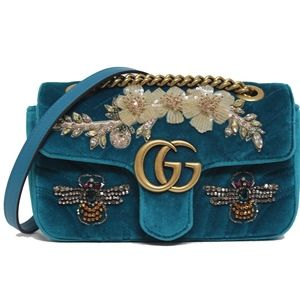 New Gucci Mini Marmont Gg Matelasse Blue Velvet